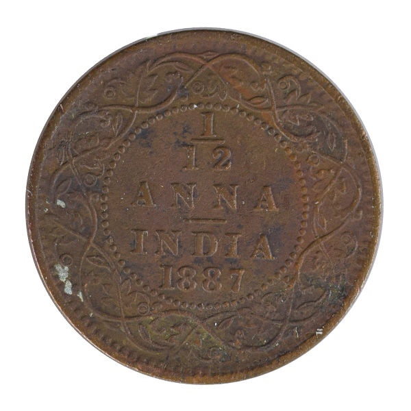 British India Victoria Empress - 1_12 Anna 1887 Calcutta