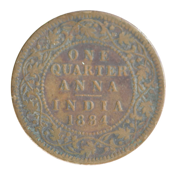 British India Victoria Empress - Quarter Anna 1884 calcutta