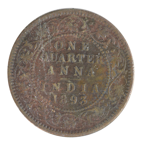 British India Victoria Empress - Quarter Anna 1893 calcutta