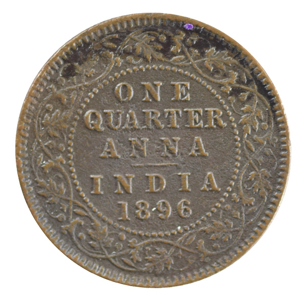 British India Victoria Empress - Quarter Anna Coin 1896 calcutta