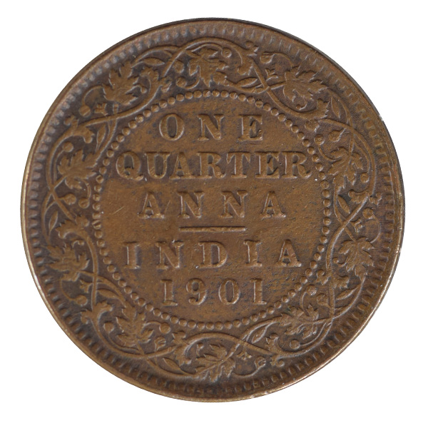 British India Victoria Empress - Quarter Anna Coin 1901 calcutta
