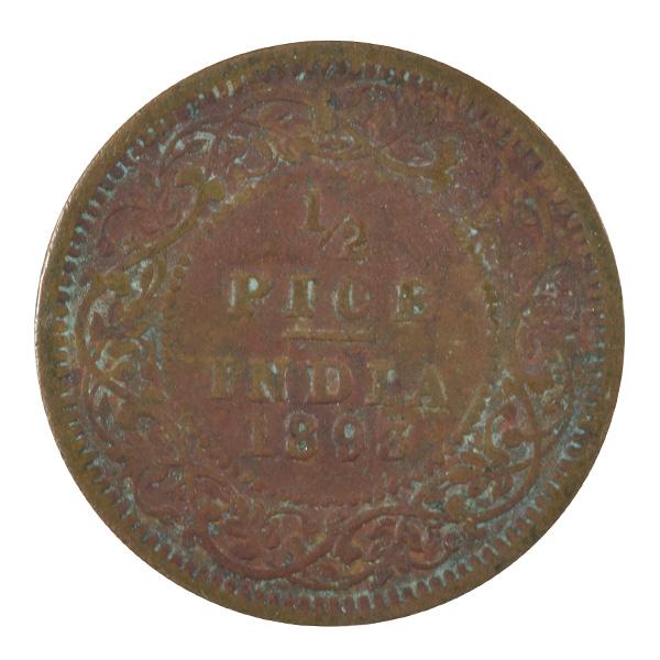 British India Victoria Empress - 1/2 Pice 1893 calcutta