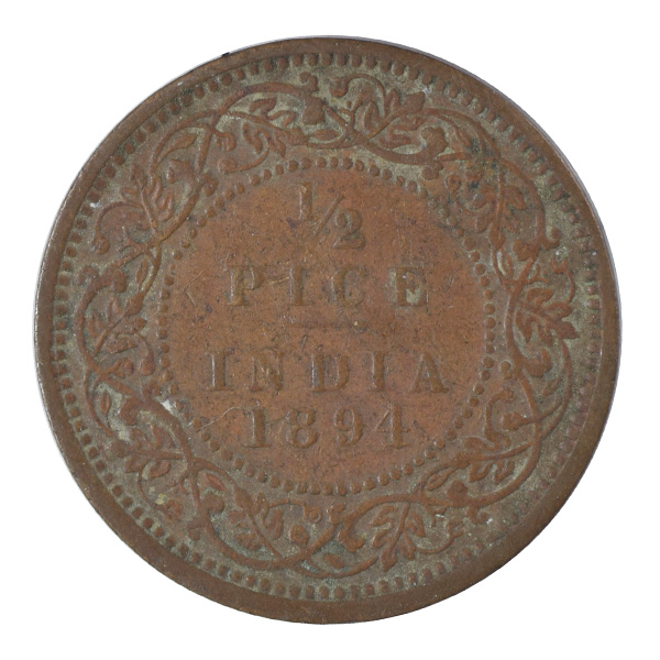 British India Victoria Empress - 1/2 Pice 1894 calcutta