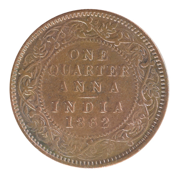 British India Victoria Queen - Quarter Anna 1876 calcutta