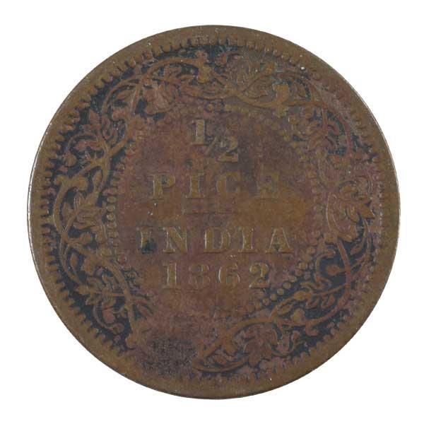 British India Victoria Queen - 1/2 Pice Coin 1862 calcutta