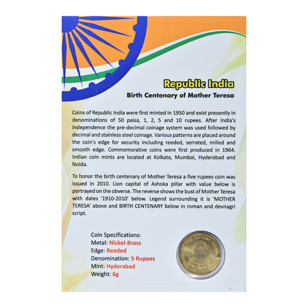 Mother Teresa Birth Centenary 5 Rupees Commemorative Coin - Republic of India
