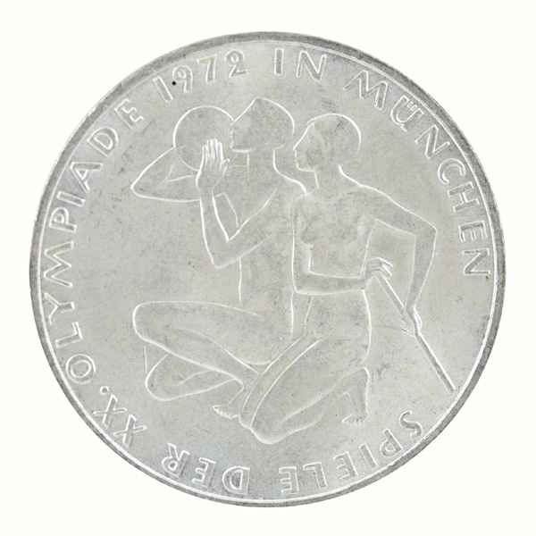 Federal Republic of Germany- 10 Mark commemorative coin with Athletes Kneeling of Munich Olympic Series