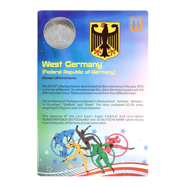 Federal Republic of Germany- 10 Mark commemorative coin with Stadium Arial View of Munich Olympic Series