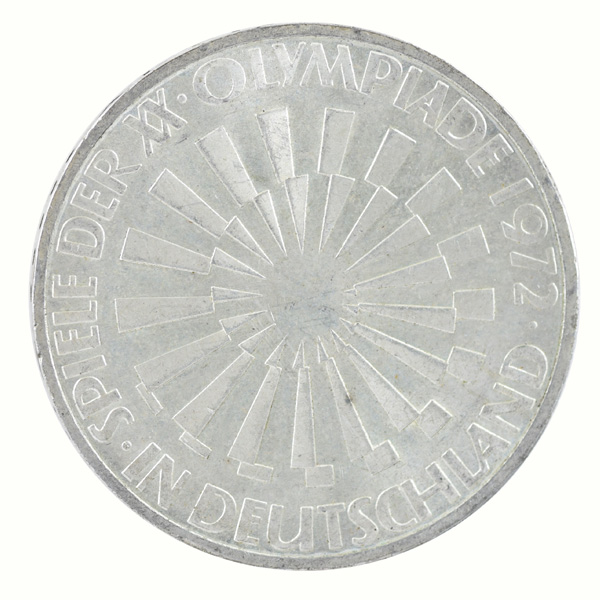 Federal Republic of Germany- 10 Mark commemorative Coin with Spiraling Symbols of Munich Olympic Series