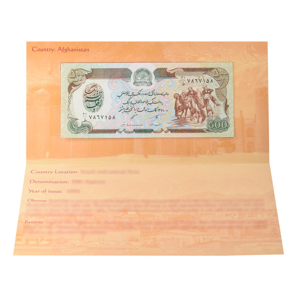 Afghanistan 500 Afghani Description Card  with original Banknote