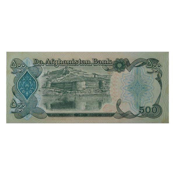Afghanistan 500 Afghani Description Card  with original Banknote