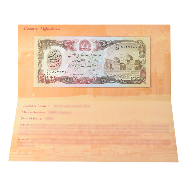 Afghanistan 1,000 Afghani Description Card  with original Banknote