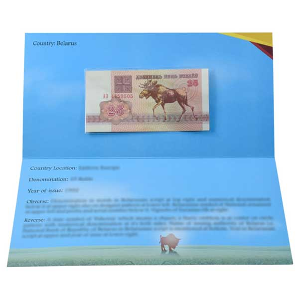 Belarus 25 Ruble Description Card with Original Banknote
