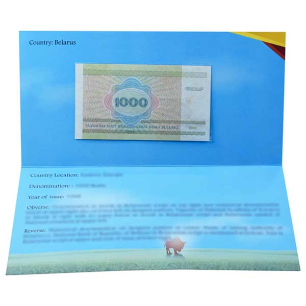 Belarus 1000 Ruble (1998) Description Card with Original Banknote