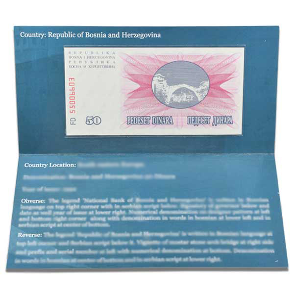 Bosnia and Herzegovina 50 Dinara Description Card with original Banknote