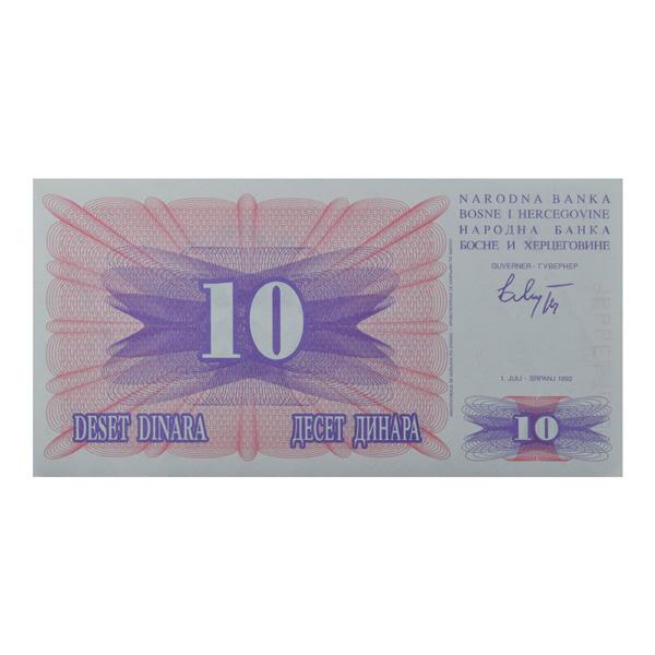 Bosnia and Herzegovina 10 Dinara Description Card  with original Banknote