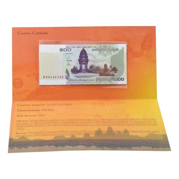 Cambodia 100 Riel (2001) Description Card with Original Banknote