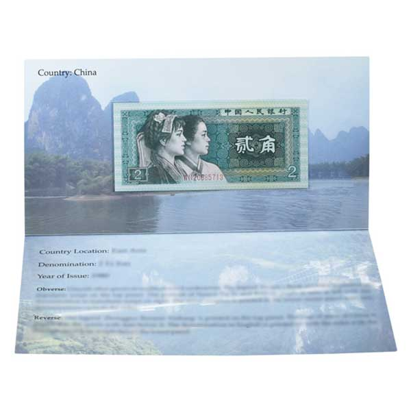 China 2 Jiao Description Card with Original Banknote
