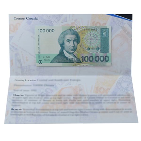 Croatia 1,00,000 Dinara Description Card with original Banknote