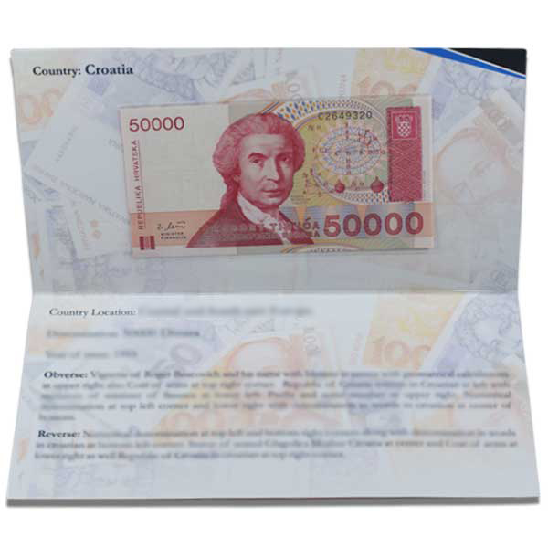 Croatia Description Card - 50000 Dinara