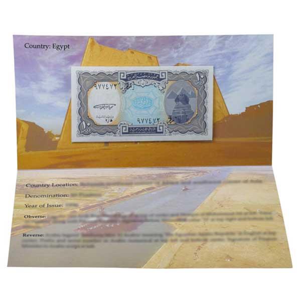 Egypt 10 Piastres Description Card with Original Banknote