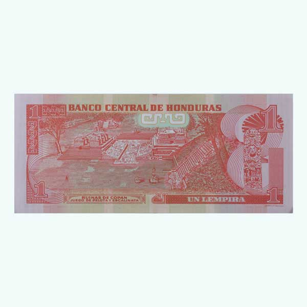 Honduras 1 Lempira Description Card with Original Banknote
