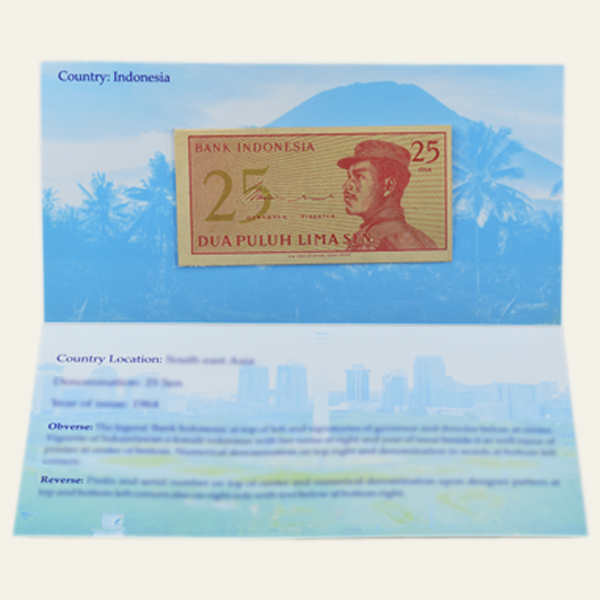 Indonesia 25 Sen Description Card with original Banknote