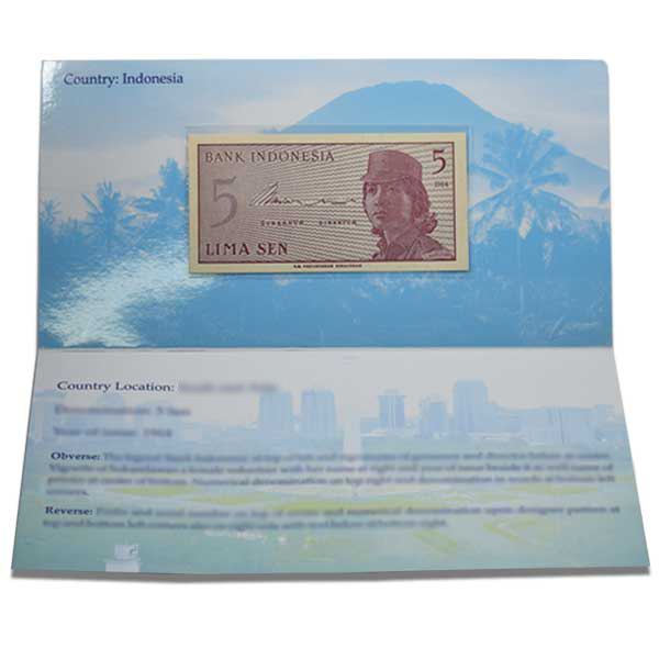 Indonesia  Description Card - 5 Sen