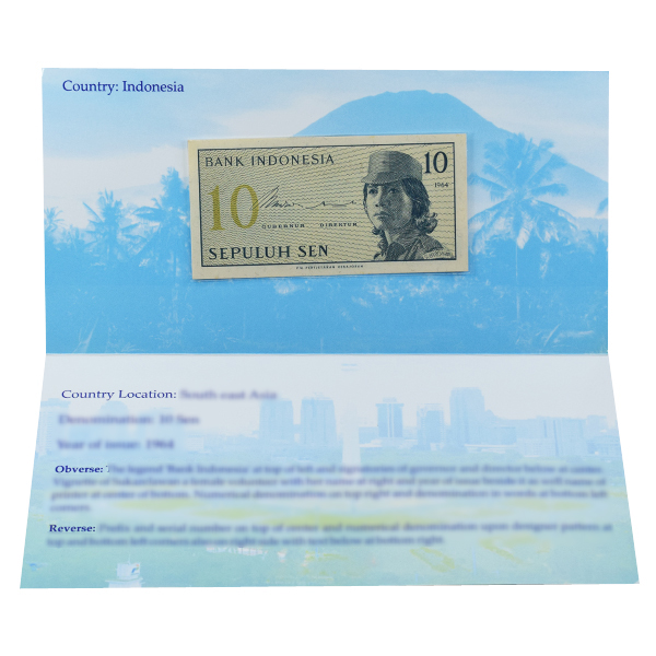 Indonesia 10 Sen Description Card with original Banknote