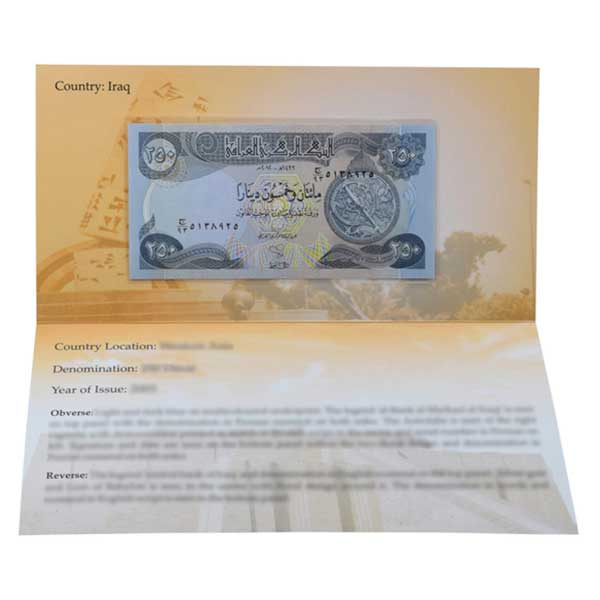 Iraq 250 Dinar Description Card with Original Banknote