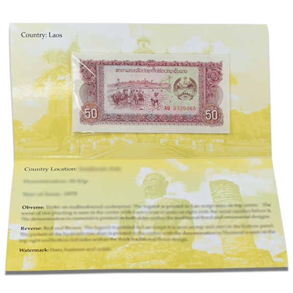Laos 50 Kip Description Card with Original Banknote