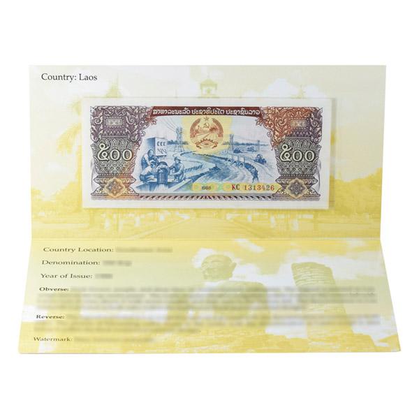 Laos 500 Kip Description Card with original Banknote