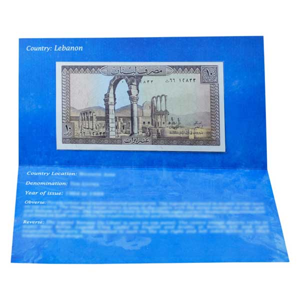 Lebanon 10 Livres Description Card with Original Banknote