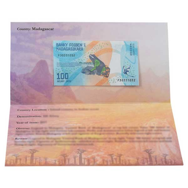 Madagascar 100 Ariary Description Card with Original Banknote