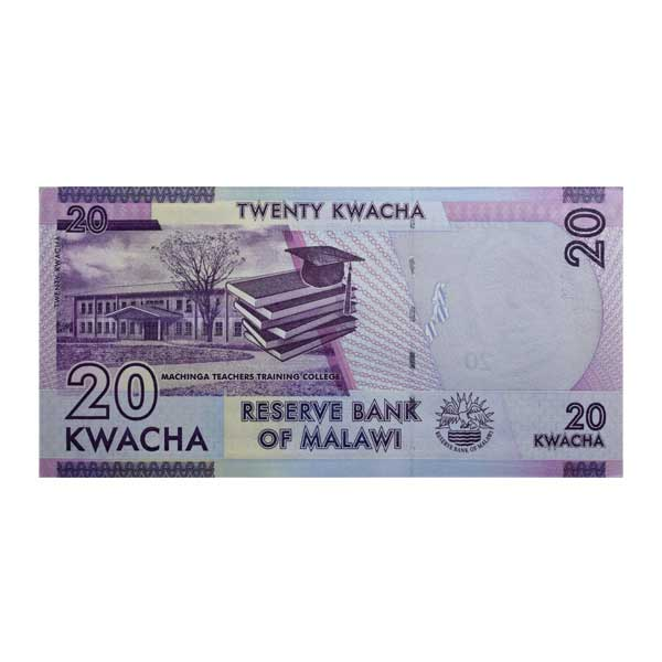 Malawi 20 Kwacha Description Card with Original Banknote