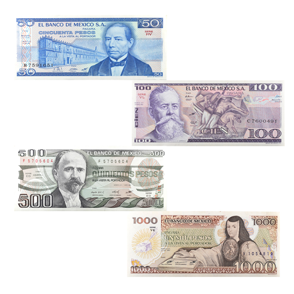 Mexican Peso 8 note set