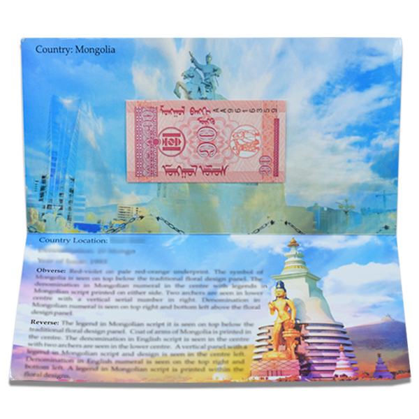 Mongolia 10 Mongo Description Card with original Banknote