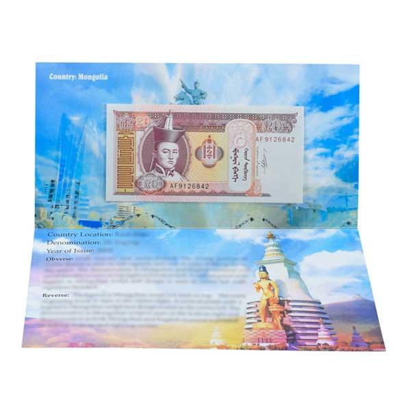 Mongolia 20 togrog Description Card with Original Banknote