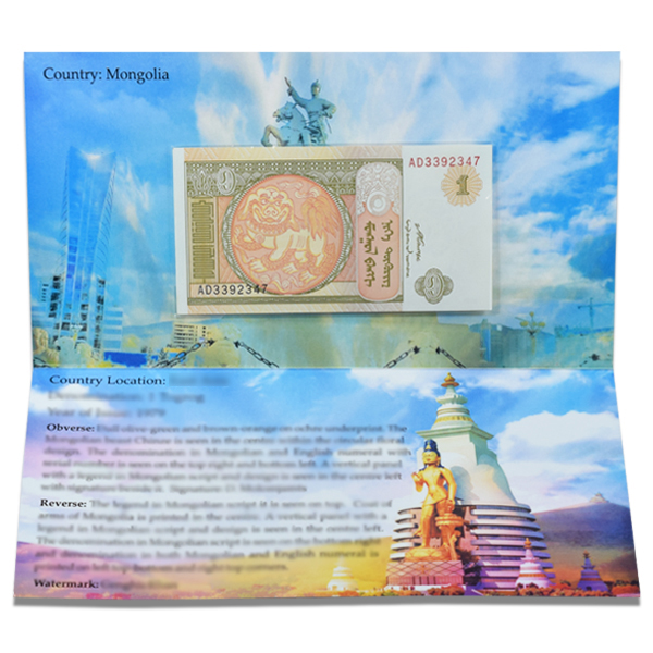 Mongolia 1 Togrog Description Card with original Banknote