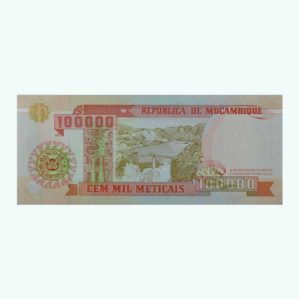 Mozambique 100000 Description Card with Original Banknote