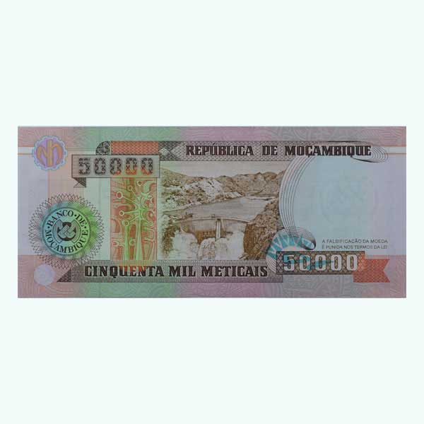 Mozambique 50000 Description Card with Original Banknote