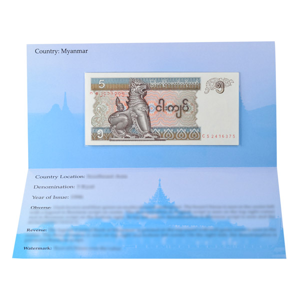 Myanmar 5 Kyat Description Card with Banknote