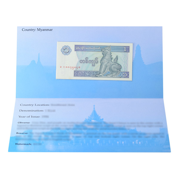 Myanmar 1 Kyat Description Card with original Banknote