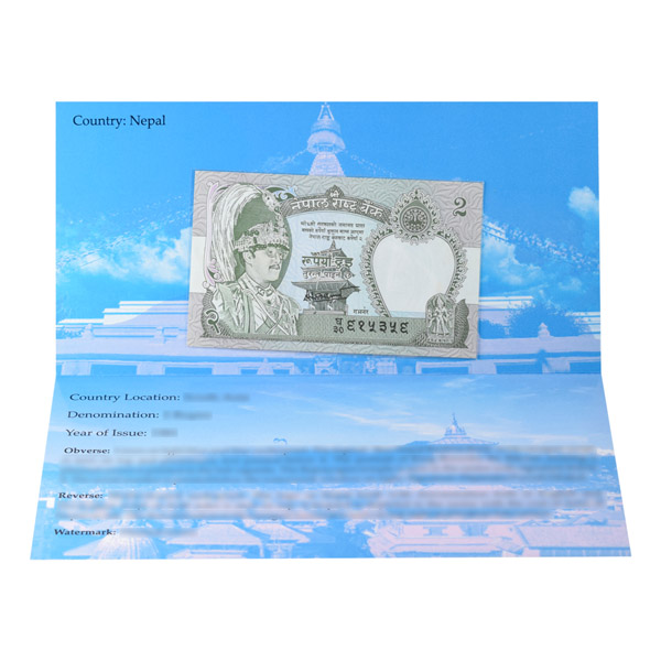 Nepal 2 Rupee Description Card with original Banknote