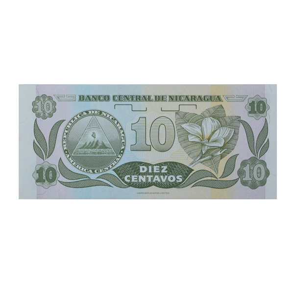 Nicaragua 10 centavos Description Card with Original Banknote