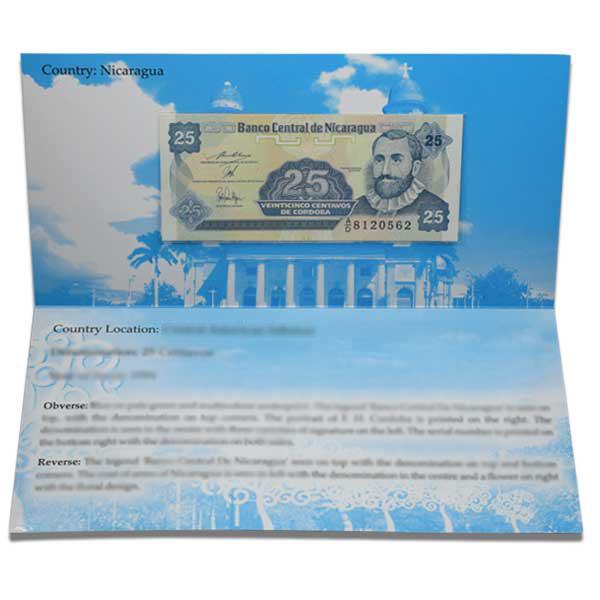 Nicaragua Description Card - 25 centavos