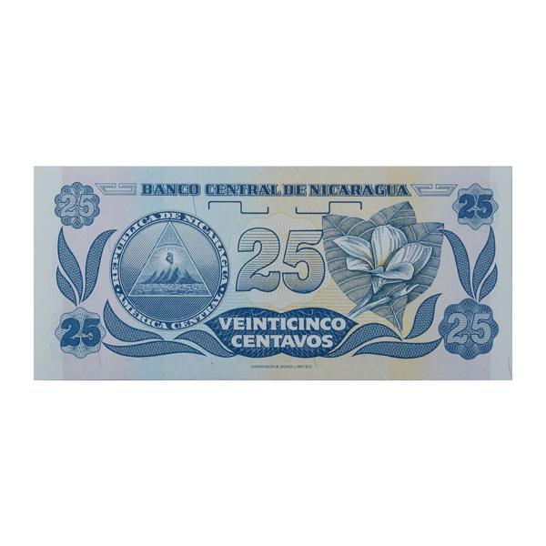 Nicaragua 25 centavos Description Card with original Banknote