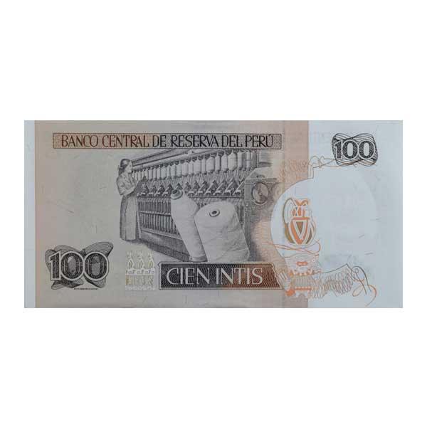 Peru 100 Inti Description Card with Original Banknote
