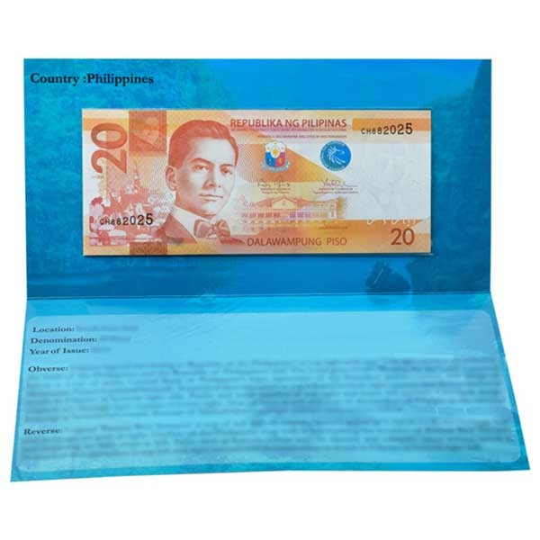 Philippines 20 Pisos Description Card with Original Banknote