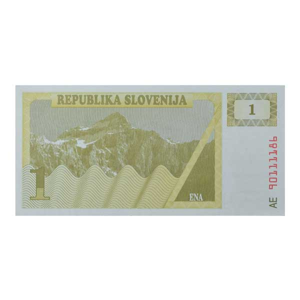 Slovenia 1 Tolar Description Card with Original Banknote